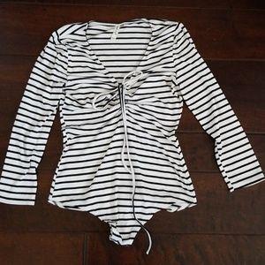 Black & White Striped bodysuit NWOT